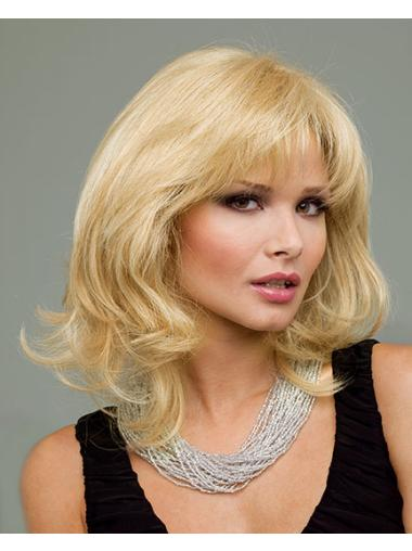 Beautiful Blonde Wavy Chin Length Human Hair Wigs