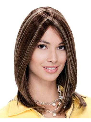 Comfortable Lace Front Straight Shoulder Length Remy Human Lace Wigs