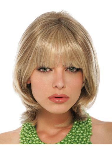 Nice Blonde Straight Chin Length Petite Wigs