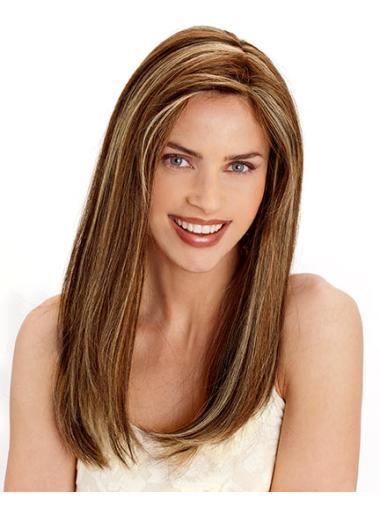 Online Brown Straight Long Human Hair Wigs
