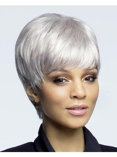 Convenient Lace Front Cropped Synthetic Grey Wigs