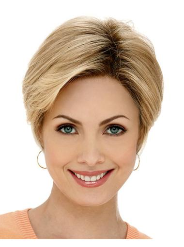 Blonde Lace Front Synthetic Braw Short Wigs