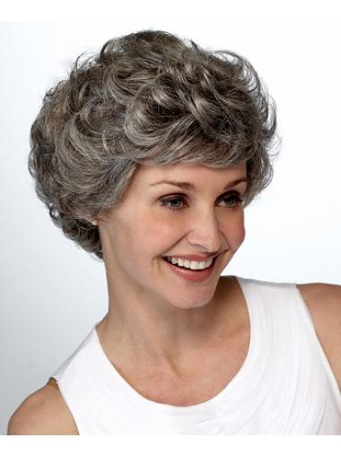 New Curly Short Synthetic Grey Wigs