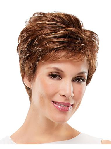 Polite Auburn Curly Short Synthetic Wigs