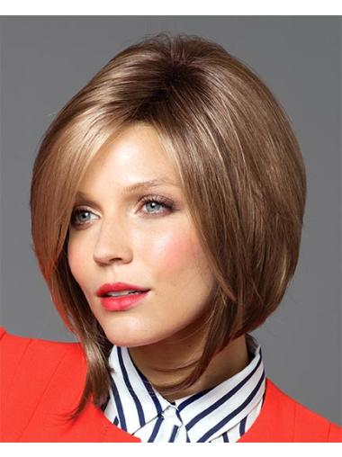 Tempting Brown Straight Chin Length Synthetic Wigs