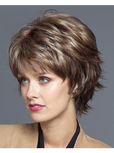 Sassy Brown Wavy Short Synthetic Wigs