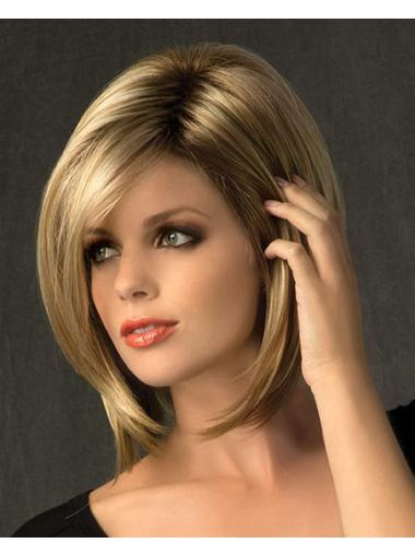 Natural Blonde Straight Chin Length Synthetic Wigs
