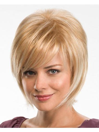 Mature Blonde Straight Chin Length Synthetic Wigs