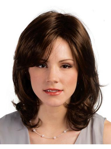 Stylish Brown Curly Shoulder Length Synthetic Wigs