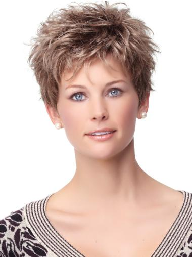 Amazing Brown Curly Cropped Synthetic Wigs