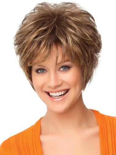 Faddish Auburn Curly Short Synthetic Wigs