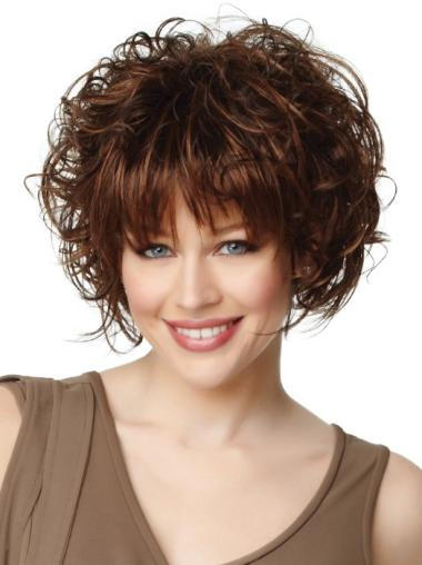 New Auburn Curly Chin Length Synthetic Wigs