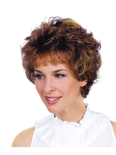 Discount Brown Curly Short Synthetic Wigs