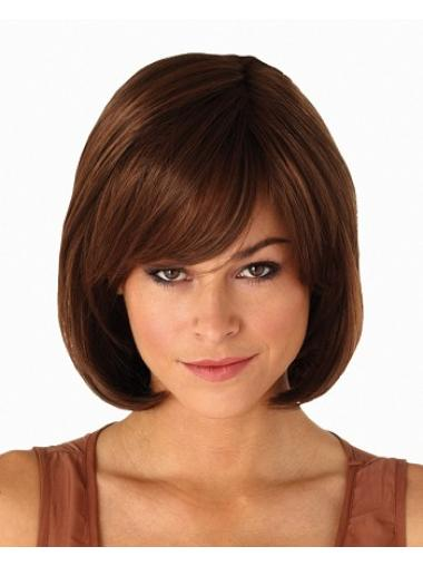 Comfortable Auburn Straight Chin Length Synthetic Wigs
