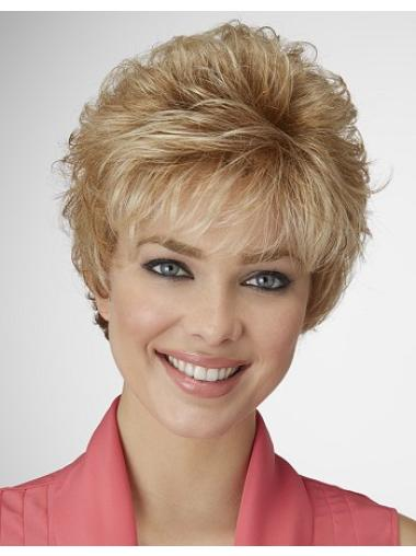 Affordable Blonde Curly Cropped Synthetic Wigs