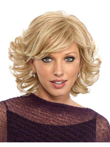 Comfortable Blonde Curly Chin Length Bob Wigs