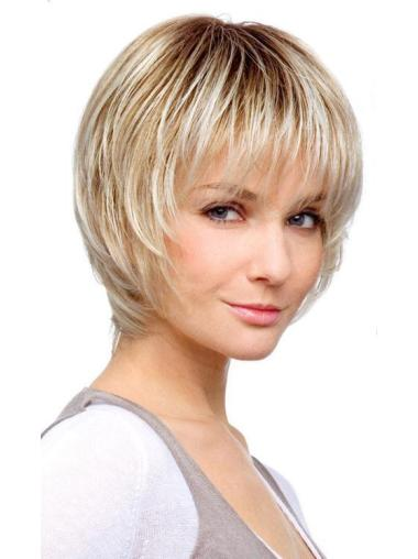 Blonde Monofilament Synthetic Ideal Medium Wigs