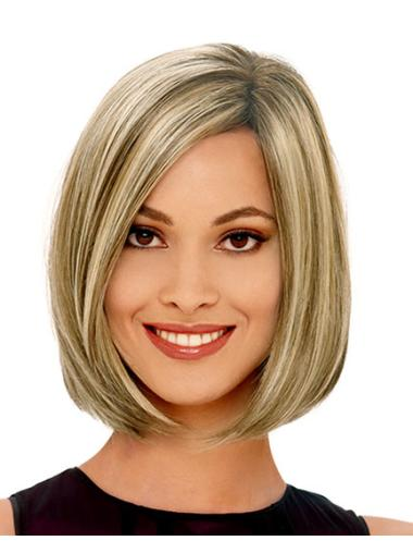 Fashionable Blonde Straight Chin Length Bob Wigs