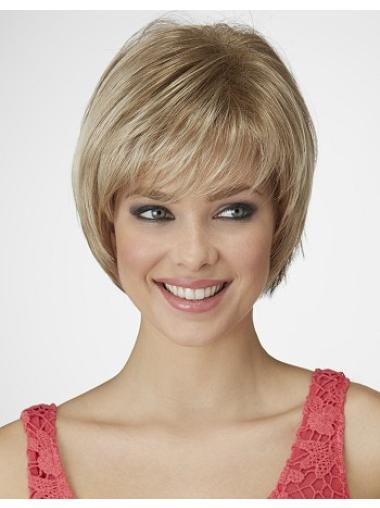 Pleasing Blonde Straight Chin Length Bob Wigs