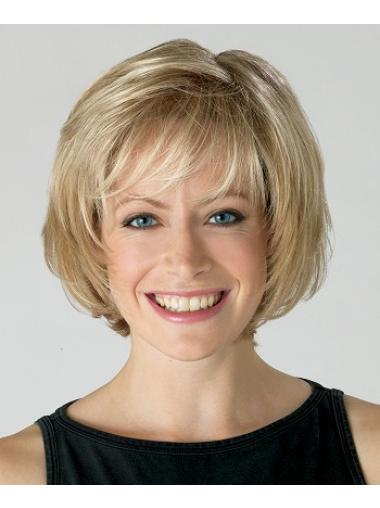 Affordable Blonde Wavy Chin Length Bob Wigs Real Hair Bob