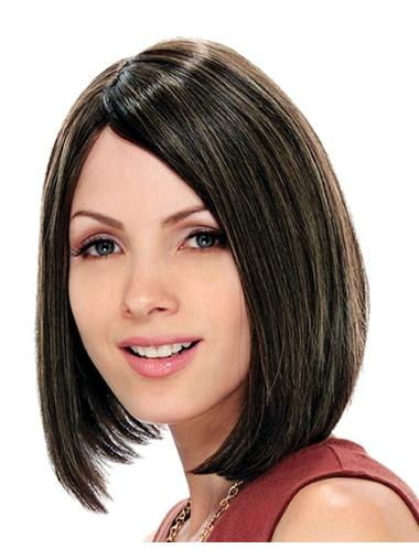 Style Brown Straight Chin Length Bob Wigs