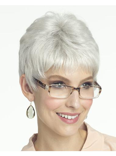Cosy Lace Front Short Synthetic Grey Wigs