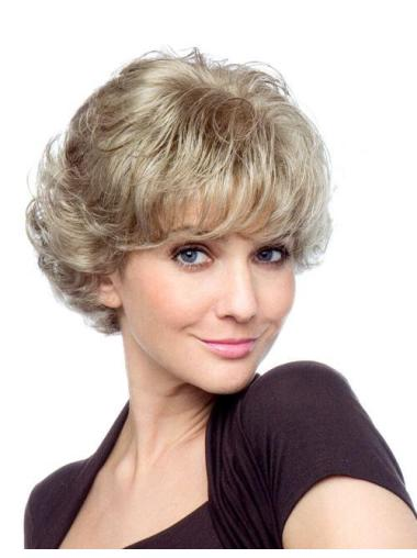 Blonde Curly Synthetic Top Short Wigs