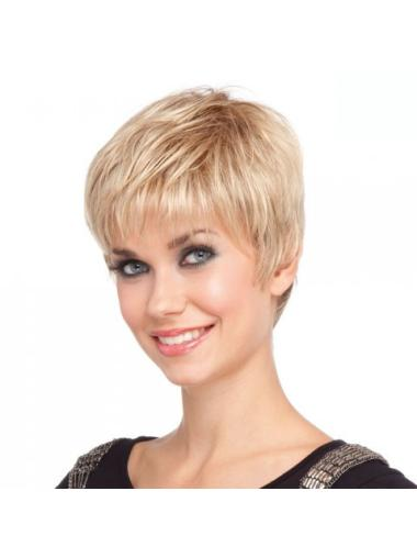 Blonde Straight Synthetic Impressive Short Wigs