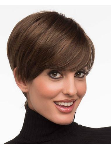 Brown Fashionable Layered Straight Short Wigs