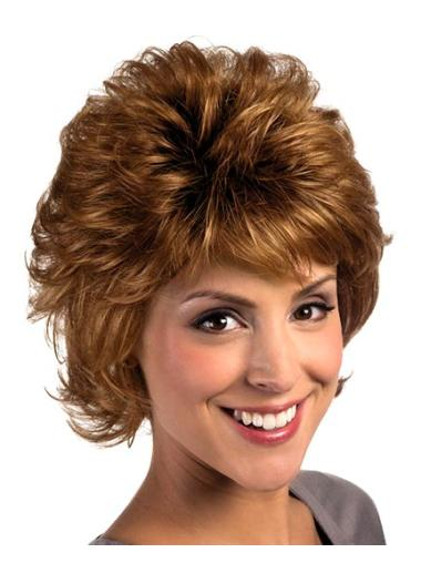 Auburn Curly Synthetic Graceful Short Wigs