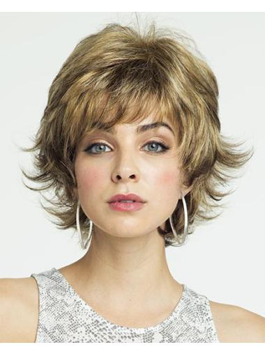 Blonde Curly Synthetic Sleek Short Wigs