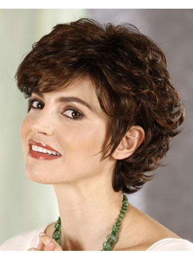 Brown Preferential Layered Curly Short Wigs
