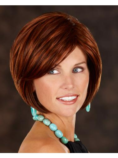 Preferential Auburn Straight Chin Length Wigs