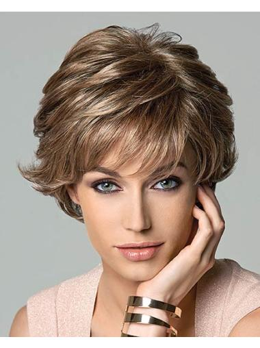Brown Ideal Layered Wavy Short Wigs