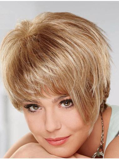 Blonde Braw Layered Straight Short Wigs