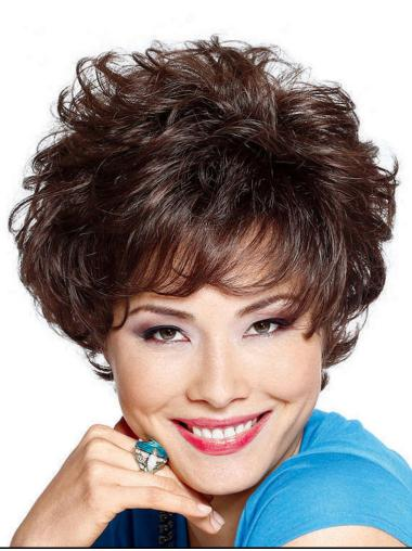 Brown Unique Layered Curly Short Wigs