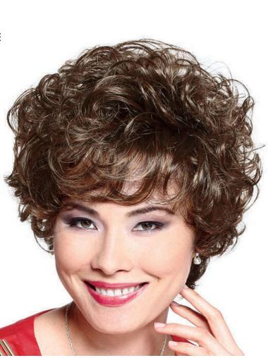 Brown Soft With Bangs Curly Short Wigs