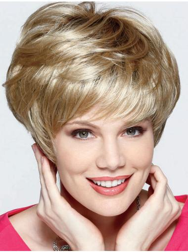 Synthetic Blonde Straight Comfortable Short Wigs
