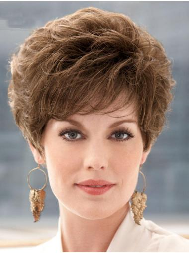 Brown Style With Bangs Curly Short Wigs Short Feathered
