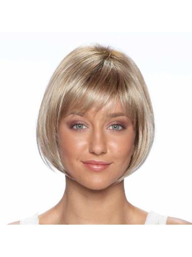 Straight Bobs Blonde Short Wigs