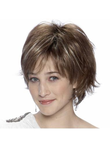 Brown Layered Straight Short Wigs