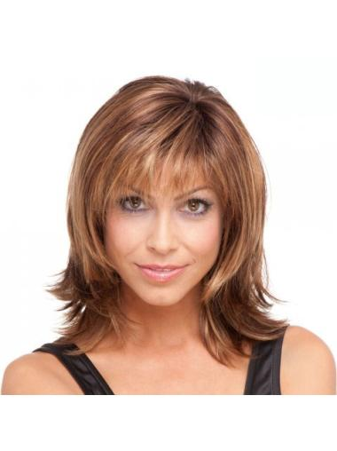 Brown Straight Synthetic Fashionable Medium Wigs