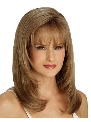 Brown Straight Synthetic Medium Wigs