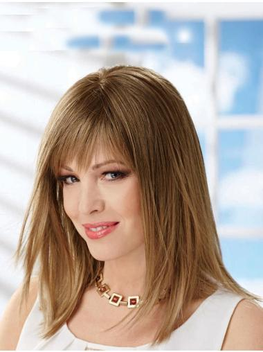 Blonde Straight Synthetic Polite Medium Wigs