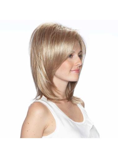Blonde Straight Synthetic Medium Wigs