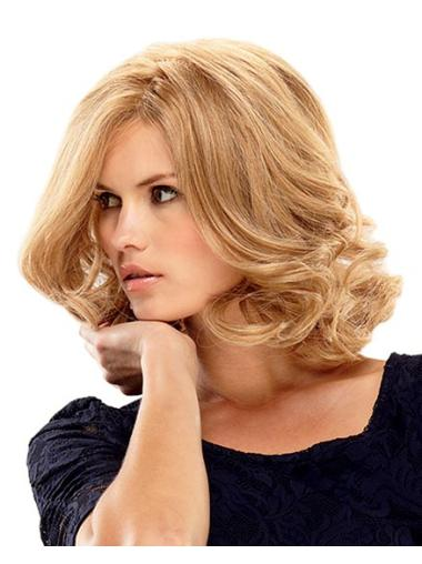 Blonde Curly Remy Human Hair Fashionable Medium Wigs