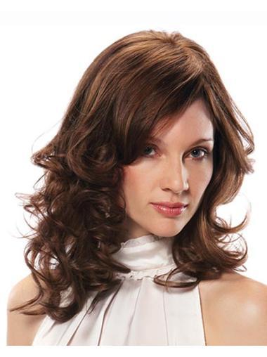 Stylish Remy Human Hair Auburn Wavy Medium Wigs