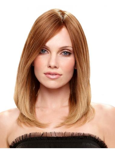 Faddish Remy Human Hair Auburn Straight Medium Wigs