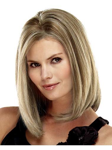 No-fuss Blonde Lace Front Shoulder Length Remy Human Lace Wigs