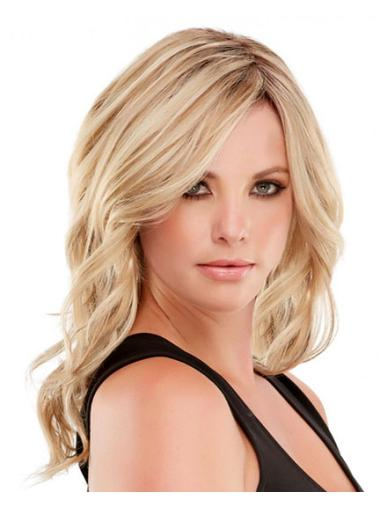 Sleek Blonde Wavy Long Remy Human Lace Wigs